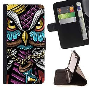 KingStore / Leather Etui en cuir / Apple Iphone 5C / Colorido Búho Gangster