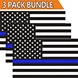 #7: Creatrill Reflective US Flag Decal Packs with Thin Blue Line for Cars & Trucks, 5 x 3 inch American USA Flag Decal Sticker Honoring Police Law Enforcement 3M Vinyl Window Bumper Tape (3-PACK)