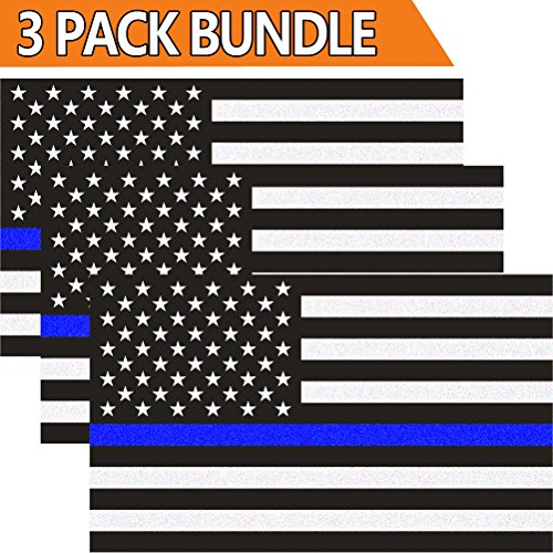 Creatrill Reflective US Flag Decal Packs with Thin Blue Line for Cars & Trucks, 5 x 3 inch American USA Flag Decal Sticker Honoring Police Law Enforcement 3M Vinyl Window Bumper Tape (3-PACK) (Decals Blue)