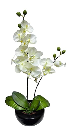 Uk Gardens Large White Orchid Artificial Potted Plant 46cm Tall With