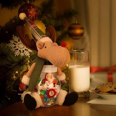 Adornos Navidad, Decoracion Navideña para Árbol con Media de Navidad, Colgante de Papá Noel, Tarro de Caramelos con Muñequito de Elk para Navidad Fiesta ...