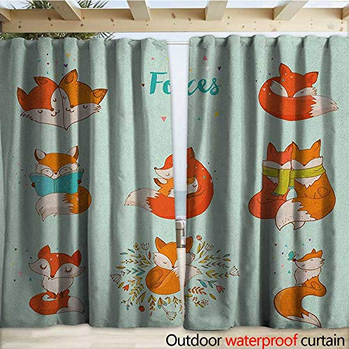 warmfamily Fox Outdoor Waterproof Curtain Lovely Fox Characters Sleeping Reading Romantic Couple Nature Collection Kids Comic W108 x L96 Multicolor