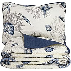 Brandream Beach Themed Bedding Sets Ocean Comforter Sets Lightweight Quilt Set Twin Size Coverlet Sets