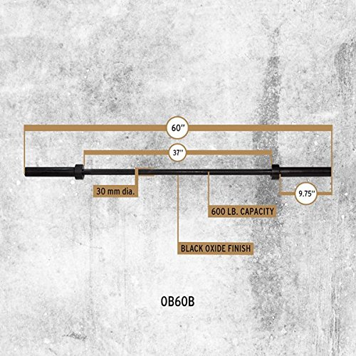Body Solid OB60 Black 5' Short Olympic Weight Lifting Bar 600 Pound Capacity