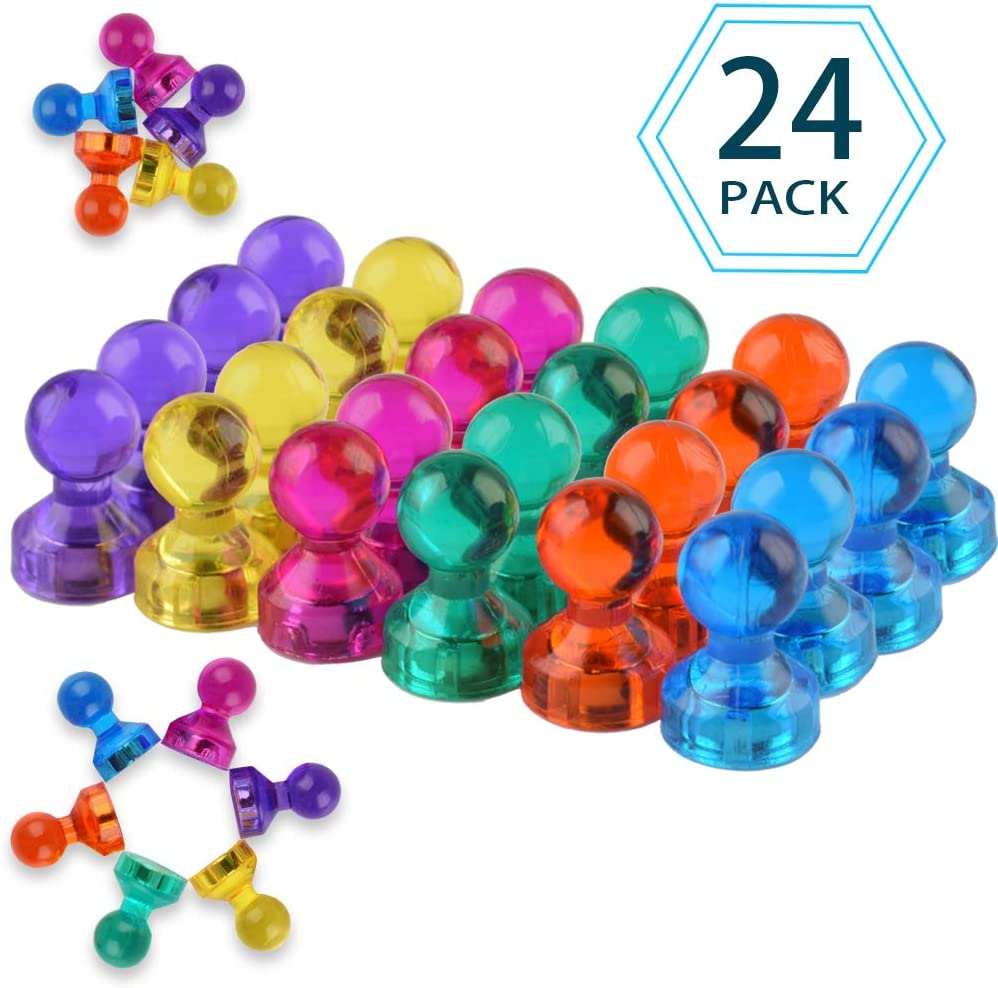 24 Pack Colorful Strong Magnetic Push Pins 6 Assorted Color Translucent Fridge Magnets for Refrigerator Magnets,Whiteboard Magnets,Map Calendar and Office Magnets