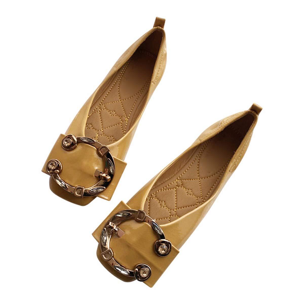 jaune Thirty-six HBDLH Chaussures pour Femmes Tête voiturerée Chaussures à Semelle Plate été Wild étudiants « Petite Bouche Confortable des Chaussures à Talons Plats Bas Chaussures.