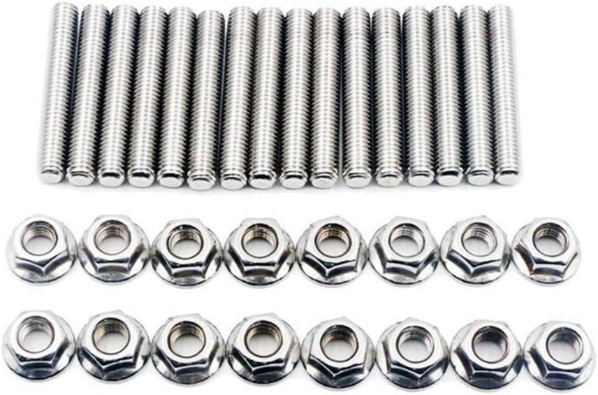 NO LOGO XJB-LMLS /Échappement en Acier Inoxydable 16pcs Argent Stud Kit Manifold Nuts for Ford 4.6 5.4 litres V8,2 Collecteurs M8 /échappement Stud