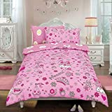 Kids 2 in 1 Reversible Quilt Duvet Cover and Pillowcase Bedding Bed Set Polycotton New colourful Designs (Princess Crown Pink, Double)