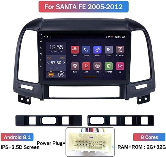 Xwoeza Für Hyundai Santa Fe 2 2006 2012 Autoradio Gps Navigationssystem Satellite Navigator Spieler Tracker Auto Radio Bluetooth Wireless Lan Touch Display Bildschirm Spiegel Sport Freizeit