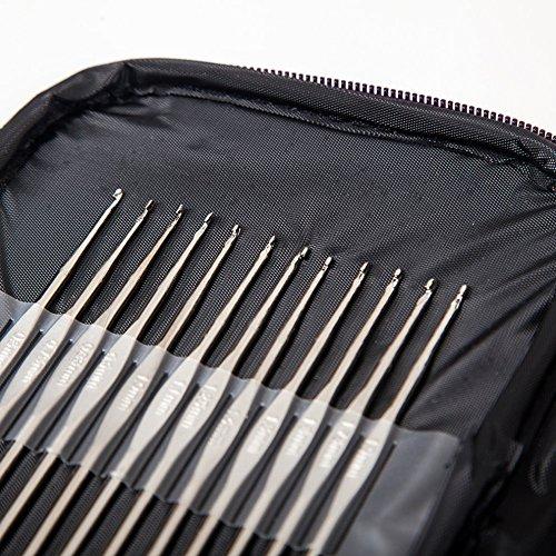 Tmalltide New Colorful TPR Soft Handle Aluminum Crochet Hooks Knitting Needles Set