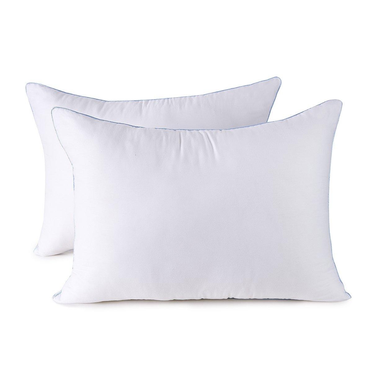 HOMESJUN Set of Two, Fluffy Down Alternative Bed Pillow Hypo-Allergenic 100% Cotton, White, 20x28