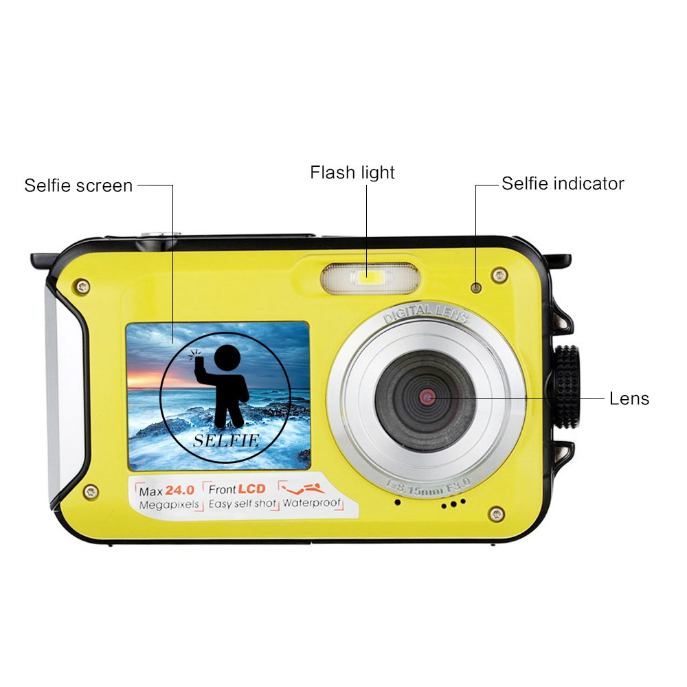 Amazon.com : Underwater Camera Snorkelling 24.0 MP Waterproof Digital Camera Float Full HD 1080P Dual Screen Waterproof Action Camera : Camera & Photo