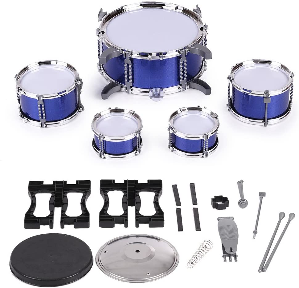 Blue ammoon Children Kids Drum Set Musical Instrument Toy 5 Drums with Small Cymbal Stool Drum Sticks for Boys Girls