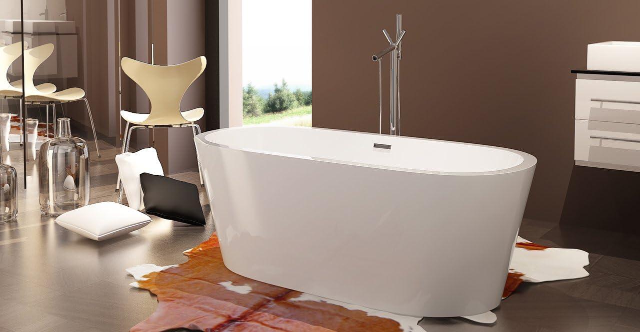 Kardiel HB-BT-PELLA-59-RO Pella Freestanding Acrylic Contemporary Bathtub, 59 , Whiterectangle Overflow