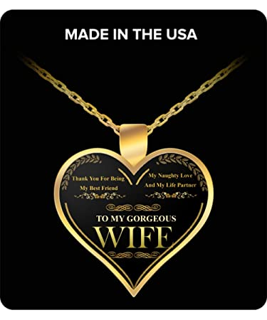 Amazon wife gifts heart shaped gold pendant necklace to my wife gifts heart shaped gold pendant necklace to my gorgeous wife best wedding anniversary aloadofball Image collections