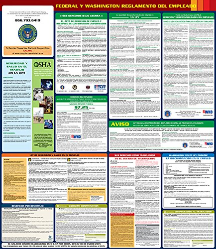 "Compliance Assistance: Washington - 2018 - All In One State and Federal Spanish - Up to Date 2018 Ready, 24""x 29"", Thick Durable Lamination, Compact, OSHA State & Federal Compliant"