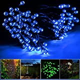 Lychee Solar powered string light 55ft 17m 100 LED Solar Fairy light string for Garden,Outdoor,Home,Christmas Party (17m 100Leds, Blue)