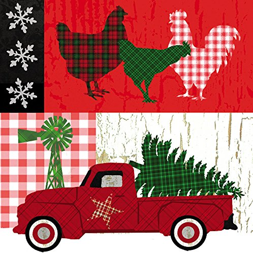Cypress Home Farm Christmas Paper Cocktail Napkins, 20 count (Christmas Paper Napkins)
