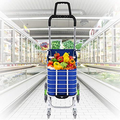 Utheing Folding Aluminum Stair Climbing Shopping Cart with Swivel Wheel Bearings and Waterproof Oxford Cloth Bag, Capacity of 177 pounds (Type2) by Utheing (Image #7)