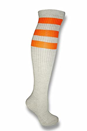 be4b5d789fe Gray Colored Knee High Tube Socks w  Various Colored Stripes Team Sport  Soccer (Gray