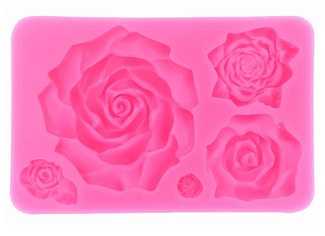 Large 5 Assorted Sizes Roses Resin Fondant Candy Silicone Mold for Sugarcraft, Cake Decoration, Cupcake Topper, Chocolate, Butter, Jewelry, Polymer Clay, Soap Making Mity rain
