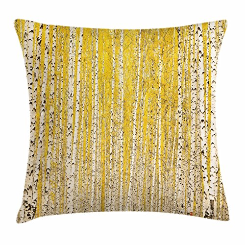 Lunarable Landscape Throw Pillow Cushion Cover, Autumn in Birch Forest Golden Yellow Leaves Seasonal Scenics Picture, Decorative Accent Pillow Case, 36 X 16 Inches, Mustard Ivory Black