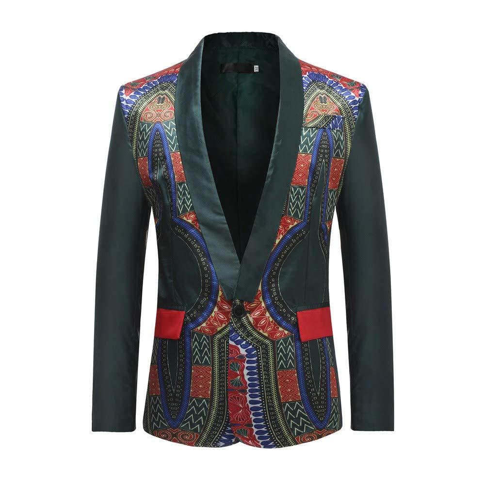 HHei_K Mens African Printed Long Sleeve Cardigan Jacket Casual Dashiki Coat