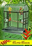 Heliconia Hideaway Stainless Steel Large Bird Cage - Perfect for Parrots, African Greys, Small Macaws, Cockatiels - 36''W x 24''D x 65''H - Cage with 2 Exterior Feeders