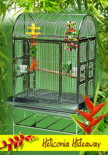 Heliconia Hideaway Stainless Steel Large Bird Cage - Perfect for Parrots, African Greys, Small Macaws, Cockatiels - 36''W x 24''D x 65''H - Cage with 2 Exterior Feeders by BirdCages4Less
