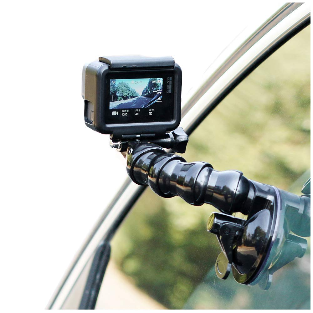 SUREWO Swivel Arm Car Suction Cup Mount Holder with Phone Holder Compatible with GoPro Hero 7 6 5 Black,4 Session,4 Silver,3+,iPhone,Samsung Galaxy,Google Pixel and More SW-JFM-036