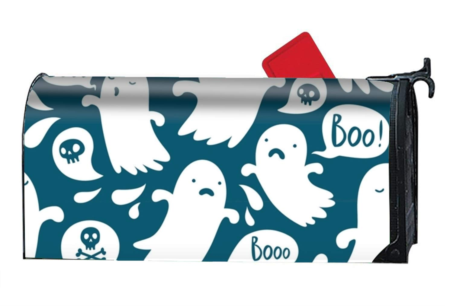 MAYS Ghost Pattern Decorative Mailbox Cover Vintage Vinyl Mailbox Wrap for Standard Size