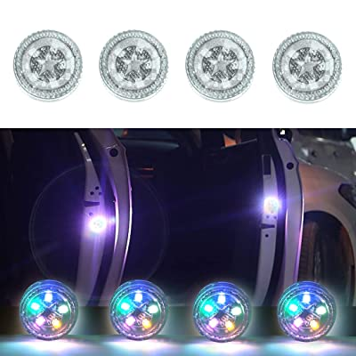Maodaner 4 PCS Universal Wireless Car Door LED Warning Light, Strobe Flashing Anti Collision Signal LED Safety Lamps (colorful): Automotive