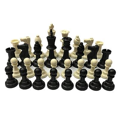 Babysbreath17 32 Piezas de ajedrez de plástico PP de ajedrez 9.5cm Rey Piezas de ajedrez Figuras Adultos Niños Torneo de Ajedrez del Juego del Juguete: Hogar