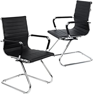 DM Furniture Reception Chairs Leather Conference Chair Heavy Duty Back Support Office Guest Chair, Set of 2 (Black)