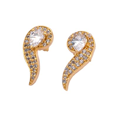 8e30748ea Buy BRASS MADE 22K GOLD PLATING SMALL LIGHT WEIGHT STYLISH TOPS EARRING FOR  WOMEN AND GIRLS FOR PARTY WEDDING OFFICE DAILY WEAR AND GIFT Online at Low  ...