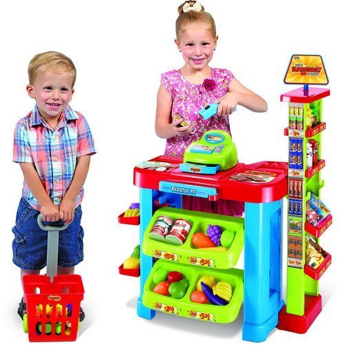 World Tech Toys Super Market Cash Register & Scanner 47 Piece Playset, Multi Color, 22 x 11.5 x 31.5