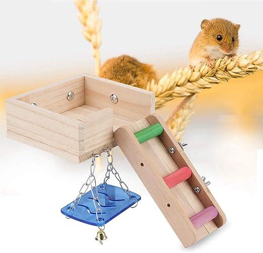 HEEPDD 3 Unids Plataforma de Hámster, Escalera de Arrastre del Ático Madera Juego Juego Jaula Juguetes Escalada Escalada Juguete de Ejercicio para Loro Perchas Pájaro Pequeños Animales(Multicolor): Amazon.es: Productos para mascotas