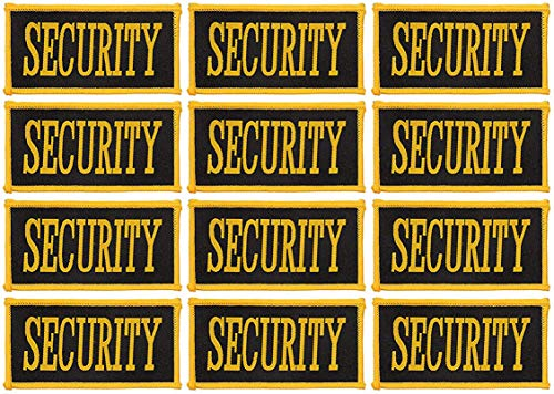- Security Patch - 12-Count Iron On Security Guard Patches, Security Officer Patch Applique with Yellow Lettering on Black Background, 3-5/8 x 1-7/8 Inches