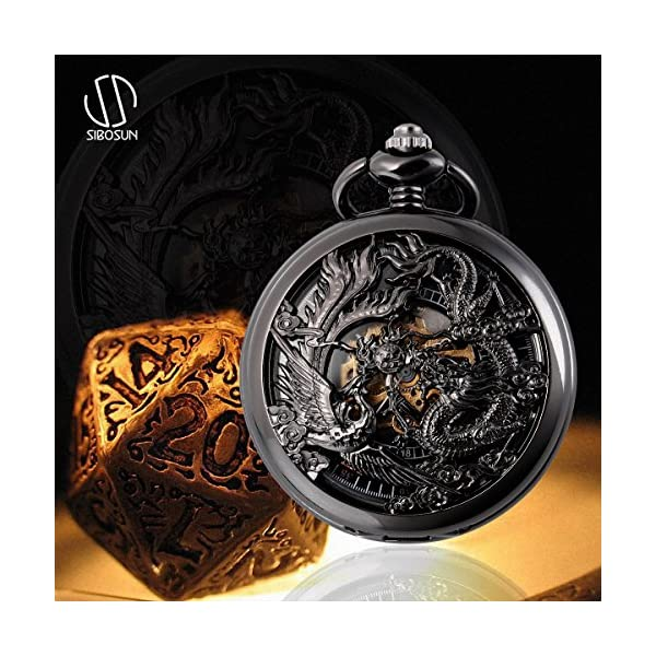 SIBOSUN Antique Half Hunter Hand Wind Skeleton Pocket Watch Mens Mechanical Phoenix and Dragon 4