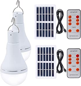 Solar Light Bulb 7W Rechargeable Led Bulb Solar Powered Light with Remote Timer, Light Sensor, 4 Lighting Mode for Outdoor Chicken Coops Shed Hiking Camping Emergency Pet House Patio Eave Garden 2PCS