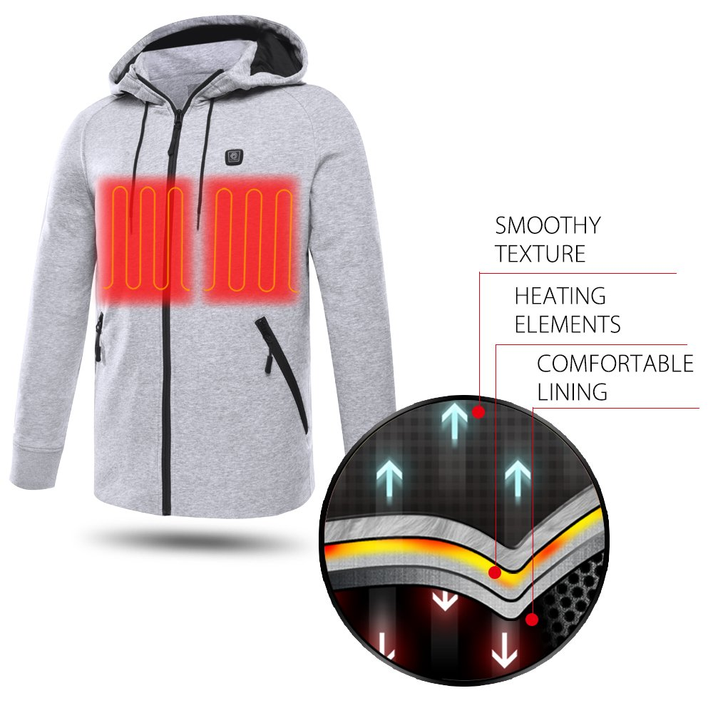 CLIMIX Mens Cordless Heated Hoodie Jacket Kit With Battery Pack (L) by CLIMIX (Image #4)