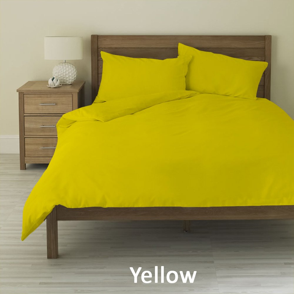 100% Pima Cotton 400-Thread-Count Super Soft Designer 3-Piece Luxury Duvet Cover Extra Long Solid with Heavy Fabric (Twin XL , Yellow)