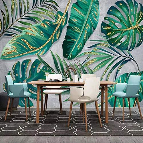 Hnfszbb 3D Wallpaper Modern Green Leaves Plant Photo Wall Mural Restaurant Living Room Decoration- 200cm(W) x 100cm(H) (6'7