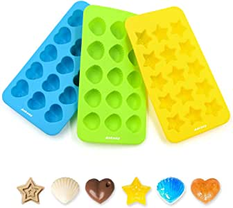 Ankway-3 Packs of Silicone Candy Chocolate Mold,Set of 15 Hearts, Stars & Shells Shaped, BPA-Free Ice Tray, Non-stick for Quick Release,Easy Clean