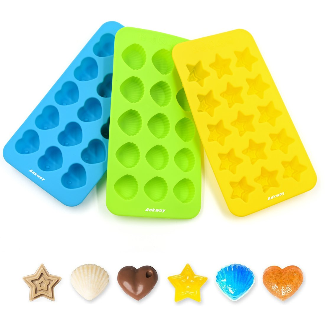 Silicone Chocolate Molds & Candy Molds - Ankway Set of 3 Non Stick BPA Free Small Flexible Hearts, Stars & Shells Baking Wax Molds Silicone Ice Cube Trays Mini Ice Maker Molds(15 Cups) by Ankway