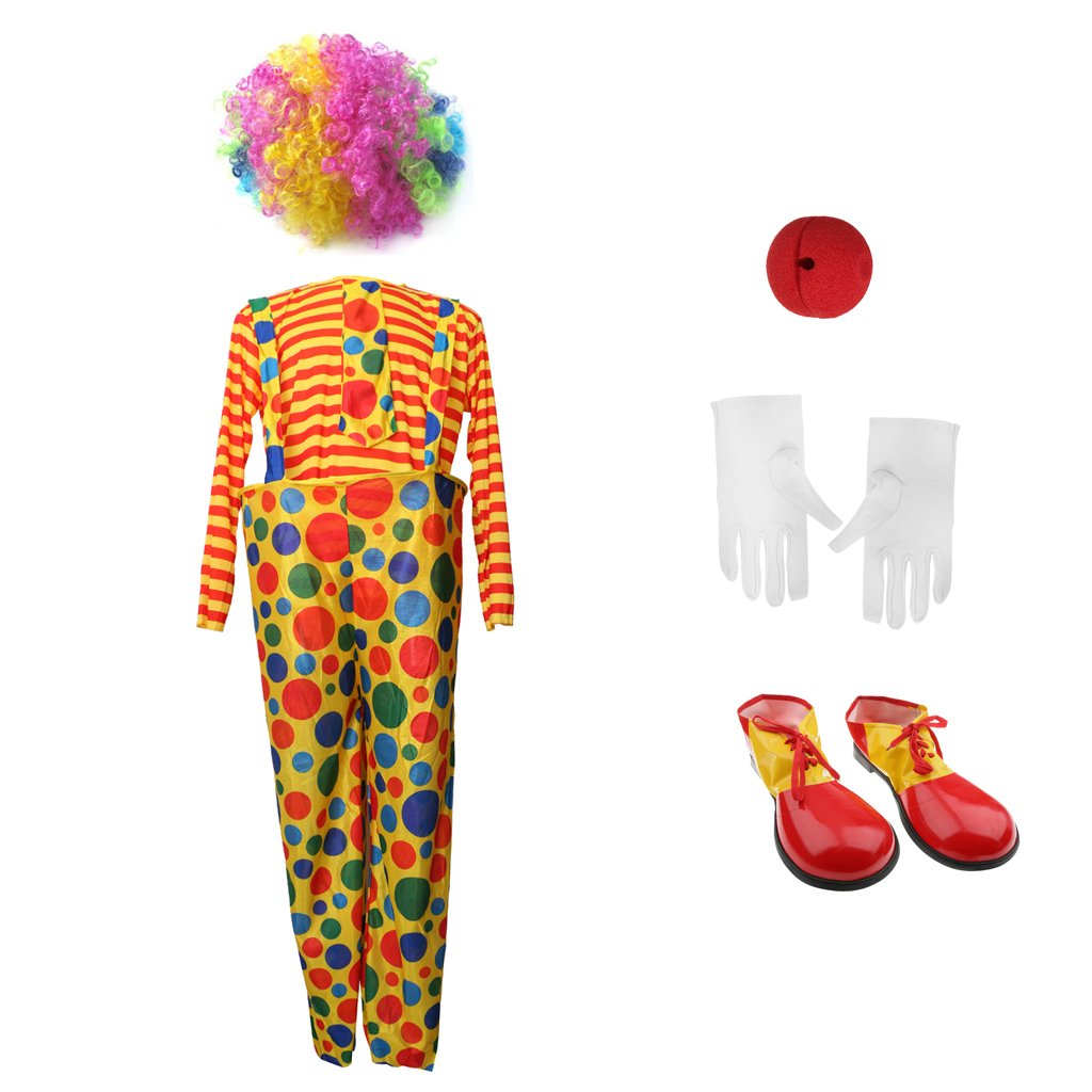 MagiDeal Circus Clown Joker Traje Jumpsuit Zapatos Perro Red Nose White Guantes Adulto