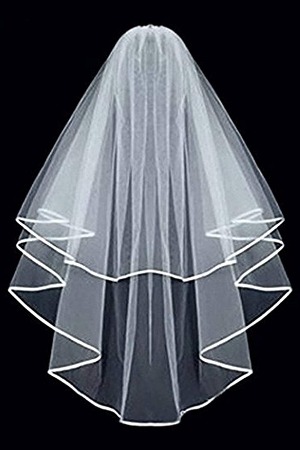 MisShow Womens Short 2 Tiers Tulle White Ivory Wedding Bridal Veil with Comb