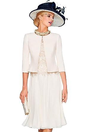 3958d6dc44f Dressvip Femme Robe Mère de la Mariée de Cérémonie Manches 1 2 Longueur  Genou en Dentelle avec Manteau pour Mariage  Amazon.fr  Vêtements et  accessoires
