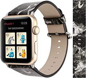Compatible with Apple Watch Band 38mm 40mm, Black Marble Natural Pattern Soft Leather Watch Strap Wristband Replacement for Apple Watch Series 6 5 4 SE (40mm) Series 3 2 1 (38mm)