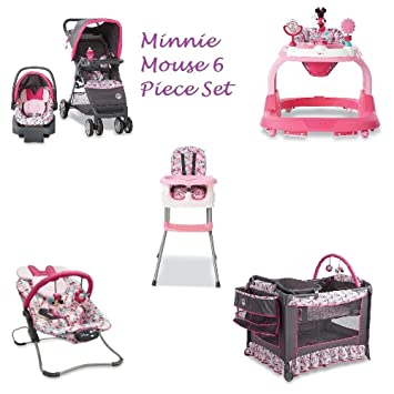 d6d2b1f9f702 Amazon.com   6 Piece MINNIE MOUSE NURSERY SET Stroller Car Seat ...
